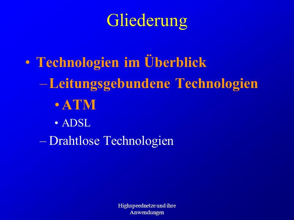 Highspeednetze und ihre Anwendungen Gliederung Technologien im Überblick –Leitungsgebundene Technologien ATM ADSL –Drahtlose Technologien