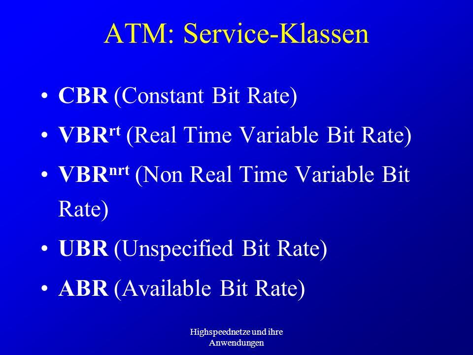 Highspeednetze und ihre Anwendungen ATM: Service-Klassen VBR rt (Real Time Variable Bit Rate) VBR nrt (Non Real Time Variable Bit Rate) UBR (Unspecifi