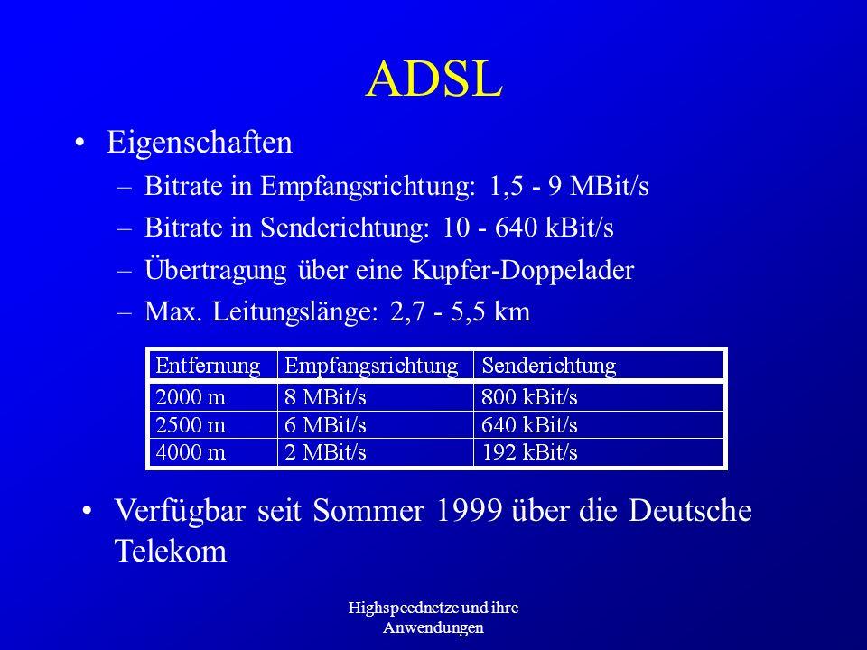 Highspeednetze und ihre Anwendungen ADSL Eigenschaften –Bitrate in Empfangsrichtung: 1,5 - 9 MBit/s –Bitrate in Senderichtung: 10 - 640 kBit/s –Übertr