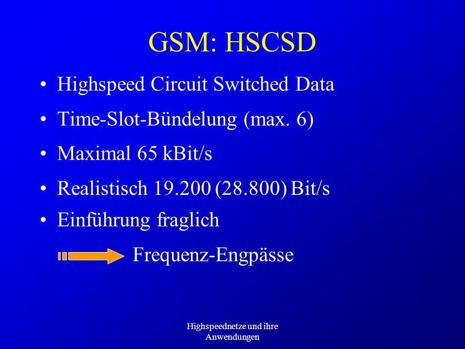 Highspeednetze und ihre Anwendungen Frequenz-Engpässe GSM: HSCSD Highspeed Circuit Switched Data Time-Slot-Bündelung (max. 6) Maximal 65 kBit/s Realis