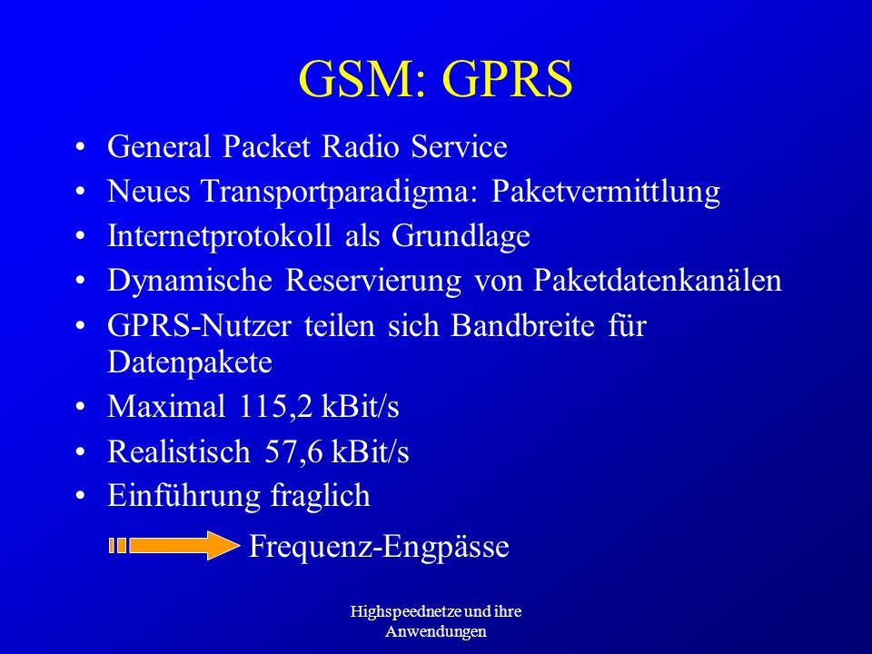 Highspeednetze und ihre Anwendungen Frequenz-Engpässe GSM: GPRS General Packet Radio Service Neues Transportparadigma: Paketvermittlung Internetprotok