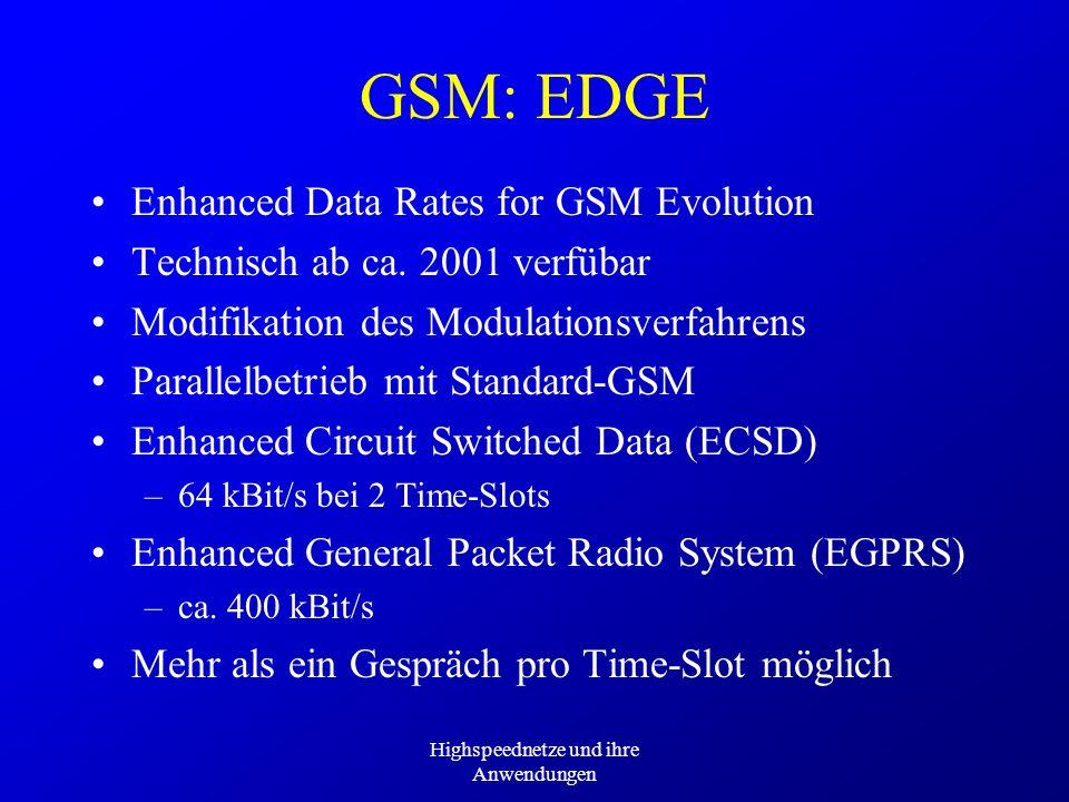 Highspeednetze und ihre Anwendungen GSM: EDGE Enhanced Data Rates for GSM Evolution Technisch ab ca. 2001 verfübar Modifikation des Modulationsverfahr