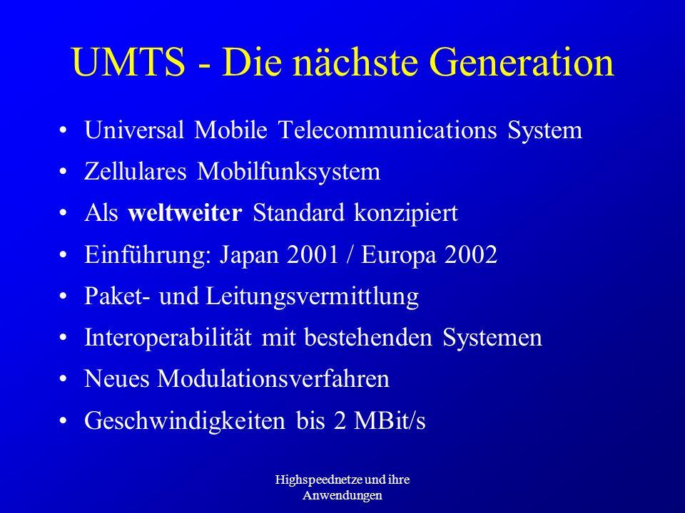 Highspeednetze und ihre Anwendungen UMTS - Die nächste Generation Universal Mobile Telecommunications System Zellulares Mobilfunksystem Als weltweiter