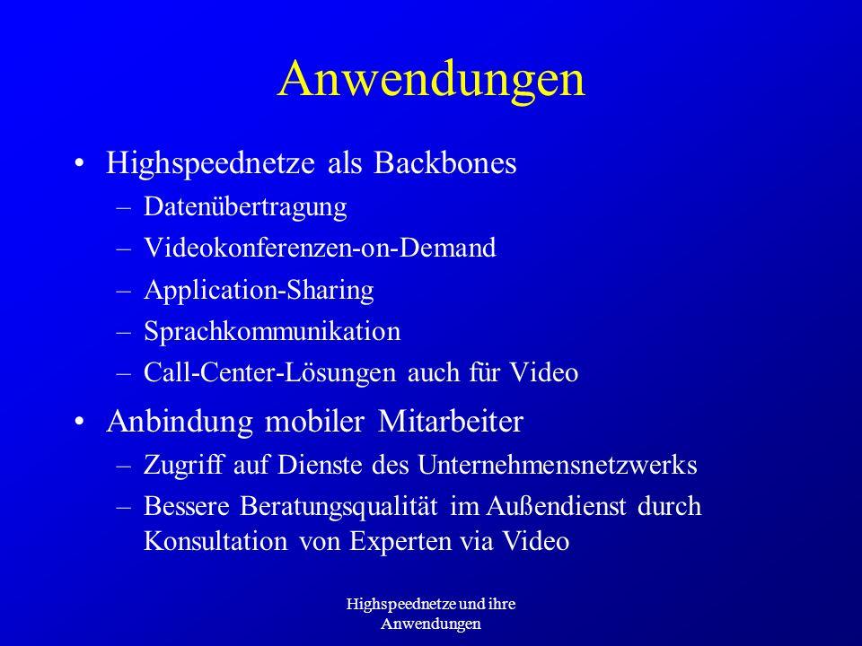 Highspeednetze und ihre Anwendungen Anwendungen Highspeednetze als Backbones –Datenübertragung –Videokonferenzen-on-Demand –Application-Sharing –Sprac