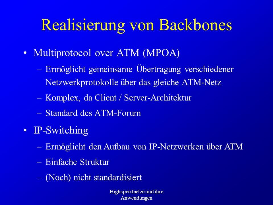 Highspeednetze und ihre Anwendungen Realisierung von Backbones Multiprotocol over ATM (MPOA) –Ermöglicht gemeinsame Übertragung verschiedener Netzwerk