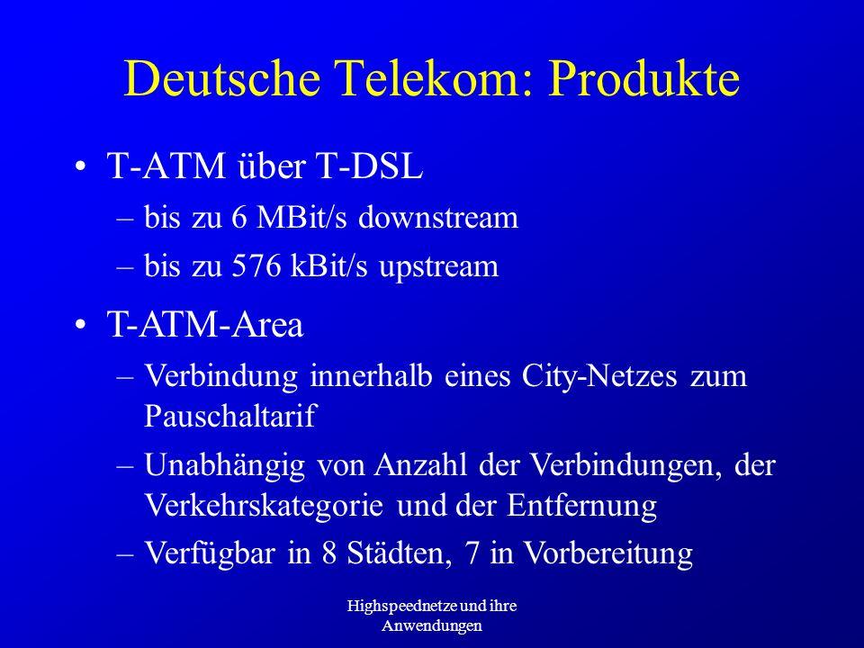 Highspeednetze und ihre Anwendungen Deutsche Telekom: Produkte T-ATM über T-DSL –bis zu 6 MBit/s downstream –bis zu 576 kBit/s upstream T-ATM-Area –Ve