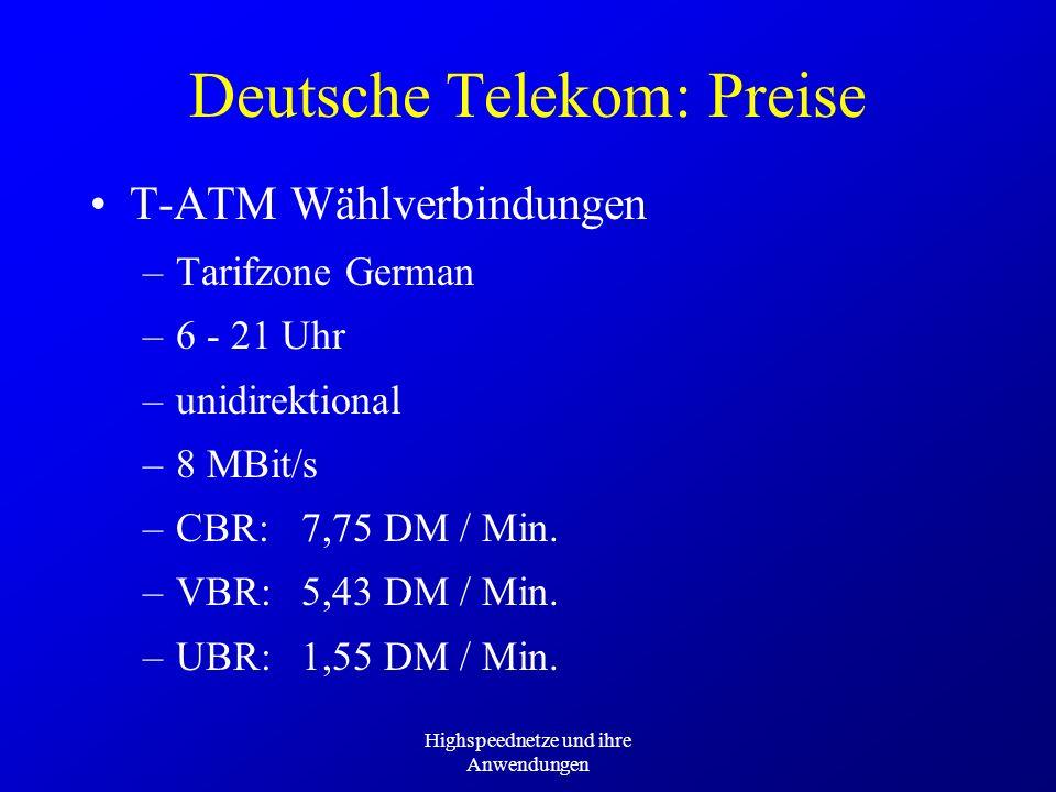 Highspeednetze und ihre Anwendungen Deutsche Telekom: Preise T-ATM Wählverbindungen –Tarifzone German –6 - 21 Uhr –unidirektional –8 MBit/s –CBR:7,75