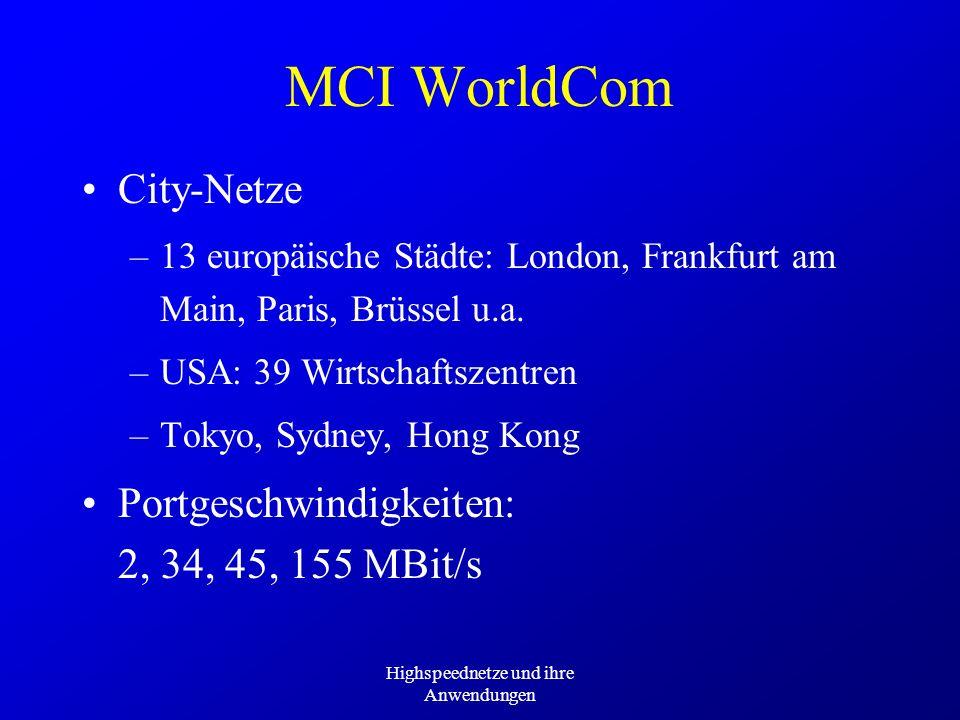 Highspeednetze und ihre Anwendungen MCI WorldCom City-Netze –13 europäische Städte: London, Frankfurt am Main, Paris, Brüssel u.a. –USA: 39 Wirtschaft