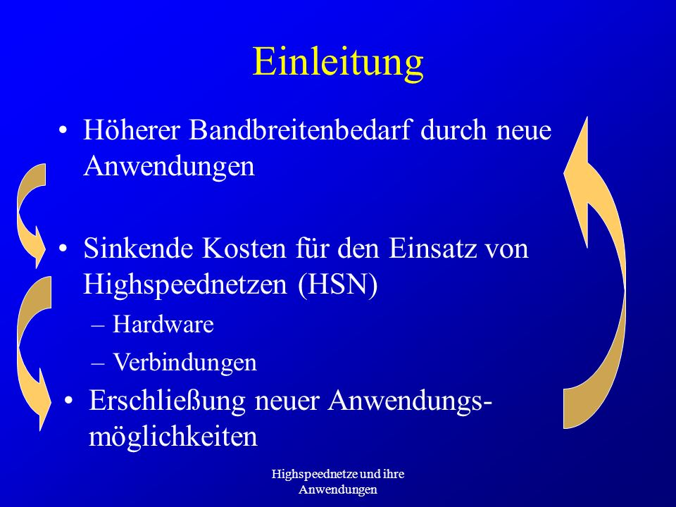 Highspeednetze und ihre Anwendungen Deutsche Telekom 53 opened Areas in Deutschland Bietet über Global One in 18 Ländern Global ATM an Portgeschwindigkeiten: 2, 34, 155 MBit/s Service-Klassen: CBR, VBR, VBR Plus, UBR, ABR (geplant) Wähl- (max.