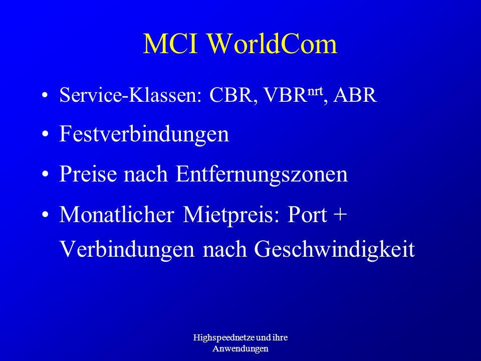 Highspeednetze und ihre Anwendungen MCI WorldCom Service-Klassen: CBR, VBR nrt, ABR Festverbindungen Preise nach Entfernungszonen Monatlicher Mietprei