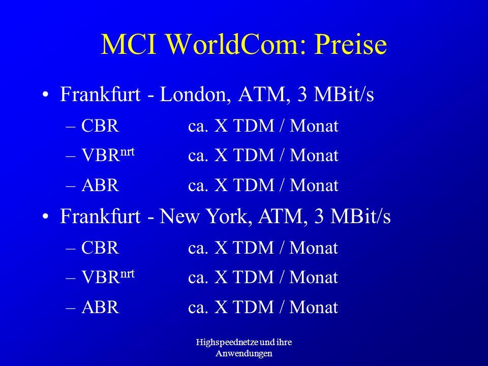 Highspeednetze und ihre Anwendungen MCI WorldCom: Preise Frankfurt - London, ATM, 3 MBit/s –CBRca. X TDM / Monat –VBR nrt ca. X TDM / Monat –ABRca. X