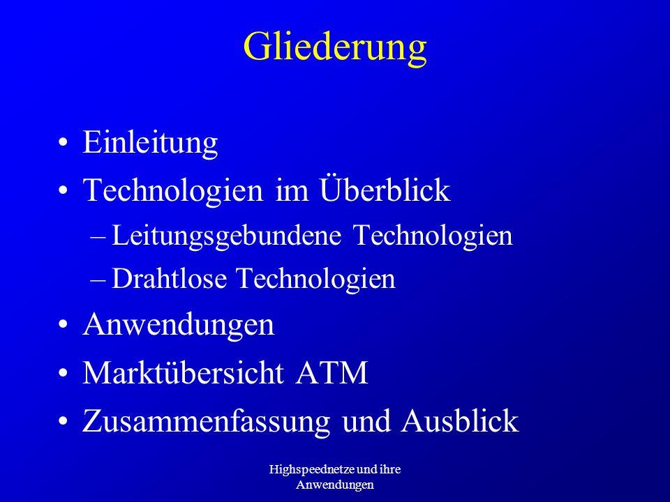 Highspeednetze und ihre Anwendungen Deutsche Telekom: Produkte T-ATM über T-DSL –bis zu 6 MBit/s downstream –bis zu 576 kBit/s upstream T-ATM-Area –Verbindung innerhalb eines City-Netzes zum Pauschaltarif –Unabhängig von Anzahl der Verbindungen, der Verkehrskategorie und der Entfernung –Verfügbar in 8 Städten, 7 in Vorbereitung