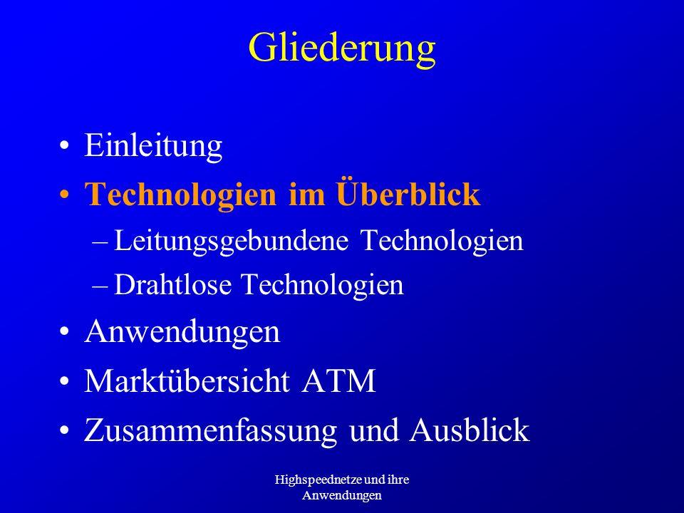 Highspeednetze und ihre Anwendungen Deutsche Telekom: Preise T-ATM Wählverbindungen –Tarifzone German –6 - 21 Uhr –unidirektional –8 MBit/s –CBR:7,75 DM / Min.