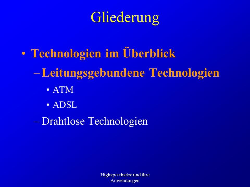 Highspeednetze und ihre Anwendungen Gliederung Technologien im Überblick –Leitungsgebundene Technologien –Drahtlose Technologien GSM –HSCSD –GRPS –EDGE UMTS