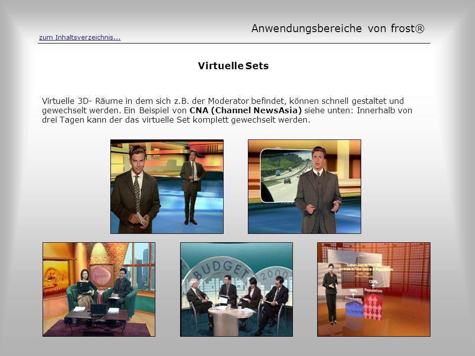 Virtuelle Sets Virtuelle 3D- Räume in dem sich z.B. der Moderator befindet, können schnell gestaltet und gewechselt werden. Ein Beispiel von CNA (Chan