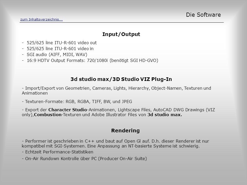 Input/Output Die Software - 525/625 line ITU-R-601 video out - 525/625 line ITU-R-601 video in - SGI audio (AIFF, MIDI, WAV) - 16:9 HDTV Output Format
