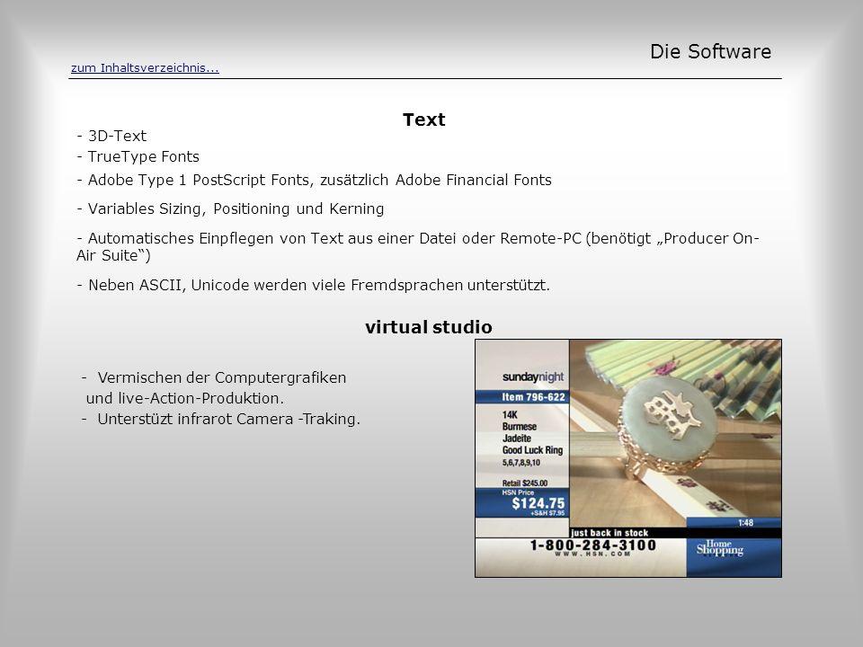 Text Die Software - 3D-Text - TrueType Fonts - Adobe Type 1 PostScript Fonts, zusätzlich Adobe Financial Fonts - Variables Sizing, Positioning und Ker