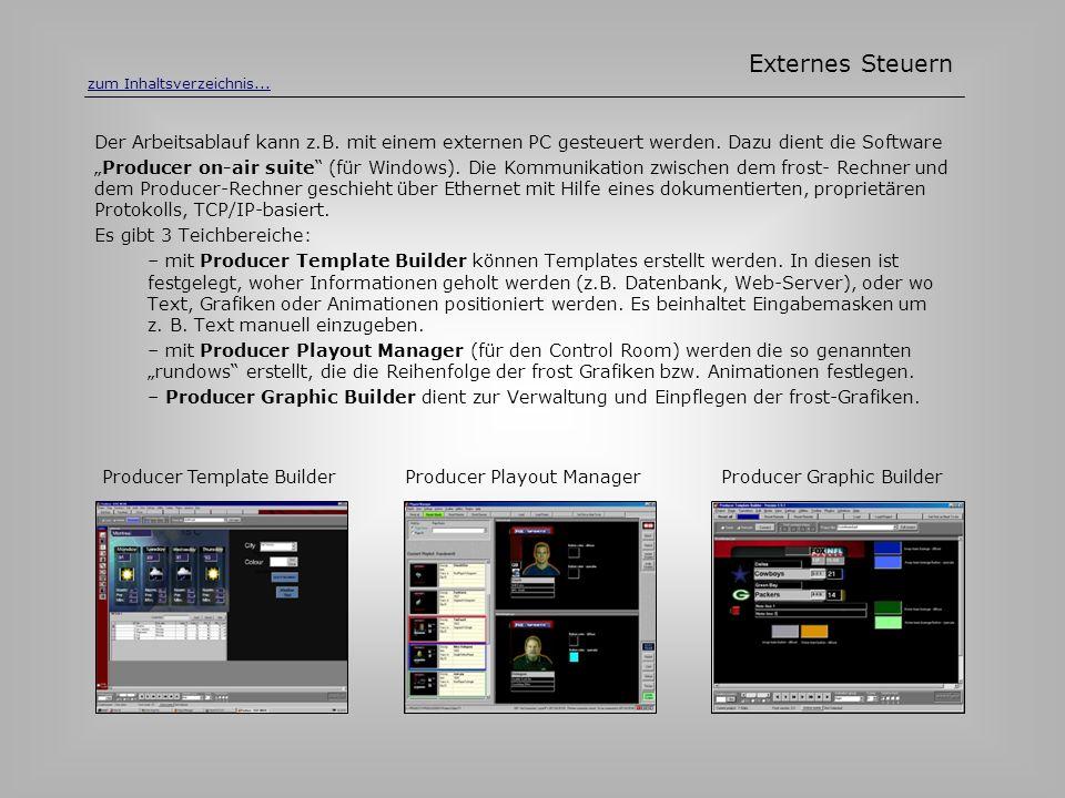 Der Arbeitsablauf kann z.B. mit einem externen PC gesteuert werden. Dazu dient die Software Producer on-air suite (für Windows). Die Kommunikation zwi