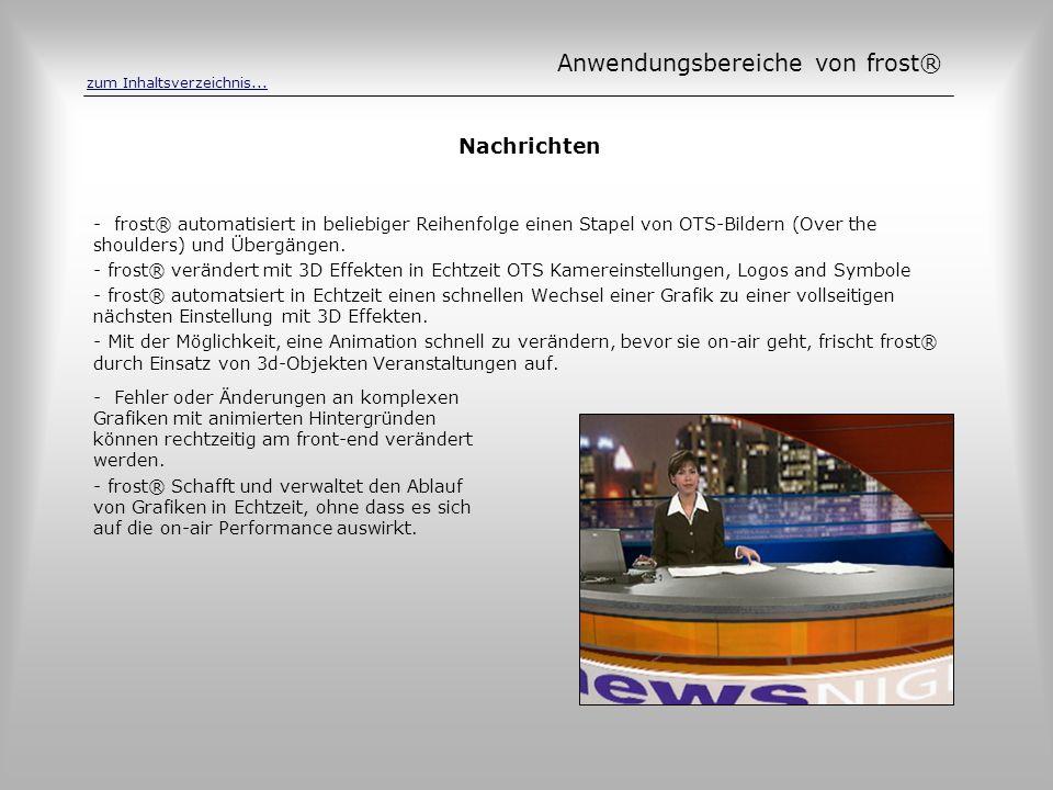 Nachrichten - frost® automatisiert in beliebiger Reihenfolge einen Stapel von OTS-Bildern (Over the shoulders) und Übergängen. - frost® verändert mit