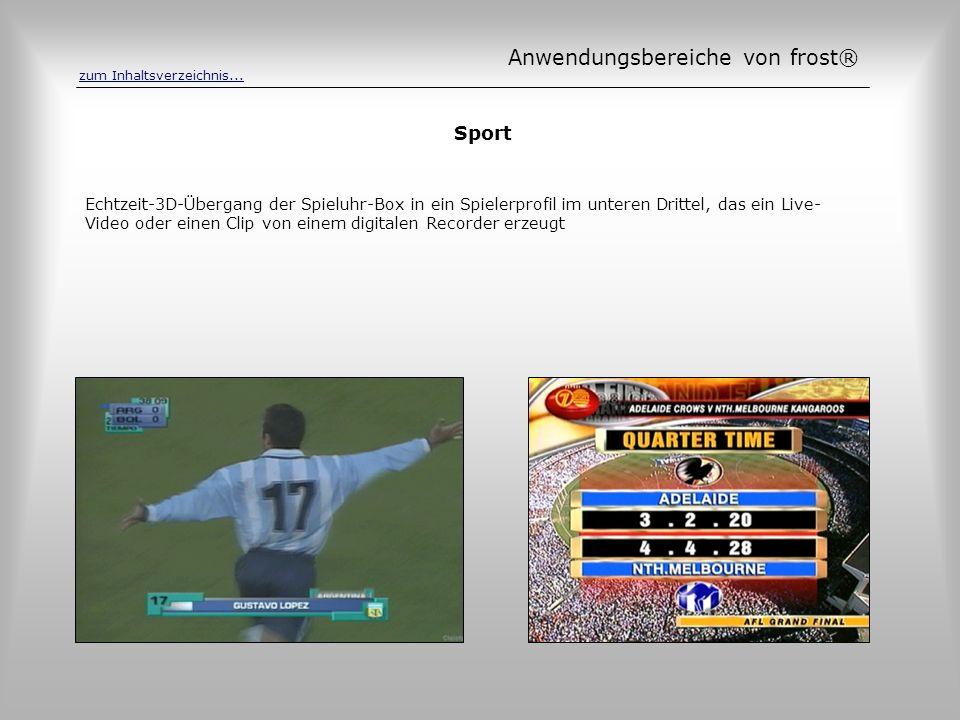 Sport Echtzeit-3D-Übergang der Spieluhr-Box in ein Spielerprofil im unteren Drittel, das ein Live- Video oder einen Clip von einem digitalen Recorder