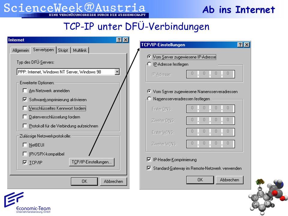 TCP-IP unter DFÜ-Verbindungen Ab ins Internet