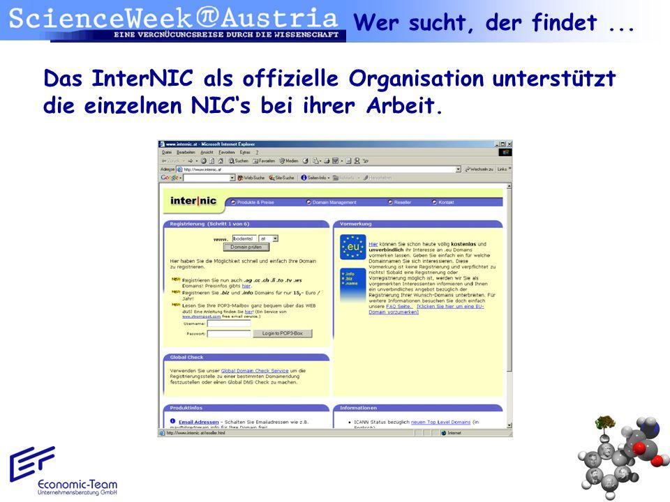 Das InterNIC als offizielle Organisation unterstützt die einzelnen NICs bei ihrer Arbeit. Wer sucht, der findet...