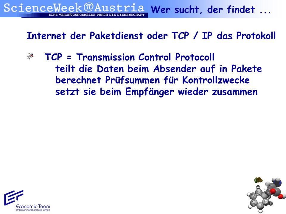 Internet der Paketdienst oder TCP / IP das Protokoll TCP = Transmission Control Protocoll teilt die Daten beim Absender auf in Pakete berechnet Prüfsu