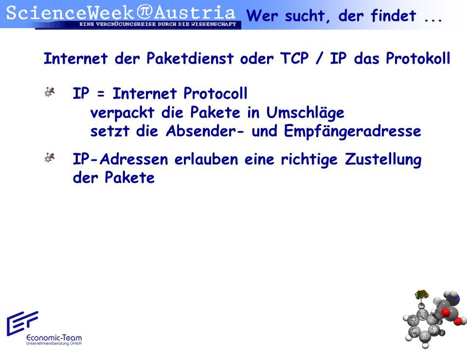 Internet der Paketdienst oder TCP / IP das Protokoll IP = Internet Protocoll verpackt die Pakete in Umschläge setzt die Absender- und Empfängeradresse