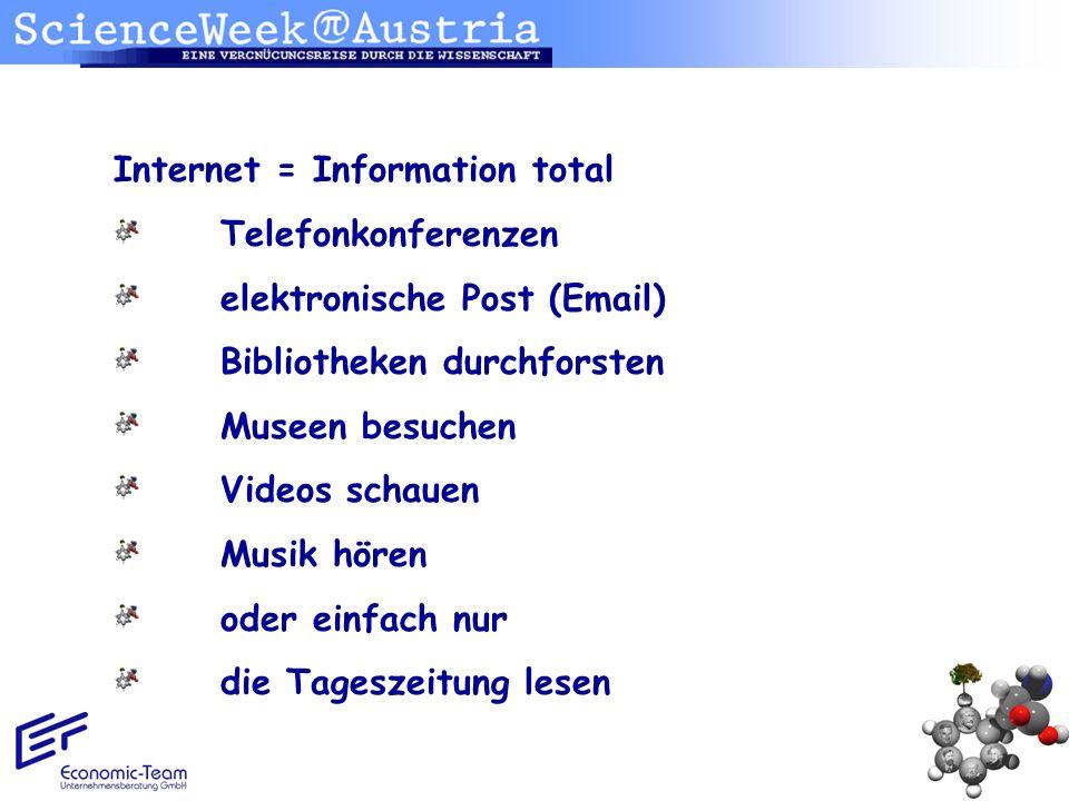 Internet = Information total Telefonkonferenzen elektronische Post (Email) Bibliotheken durchforsten Museen besuchen Videos schauen Musik hören oder e