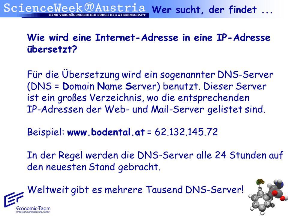Wie wird eine Internet-Adresse in eine IP-Adresse übersetzt? Wer sucht, der findet... Für die Übersetzung wird ein sogenannter DNS-Server (DNS = Domai