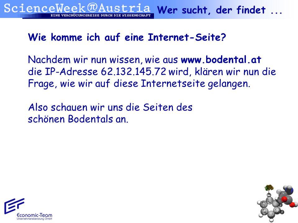 Wie komme ich auf eine Internet-Seite? Nachdem wir nun wissen, wie aus www.bodental.at die IP-Adresse 62.132.145.72 wird, klären wir nun die Frage, wi