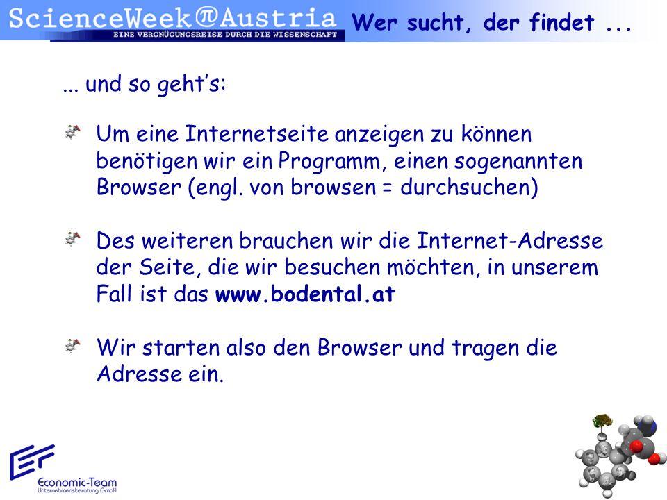 ... und so gehts: Um eine Internetseite anzeigen zu können benötigen wir ein Programm, einen sogenannten Browser (engl. von browsen = durchsuchen) Des