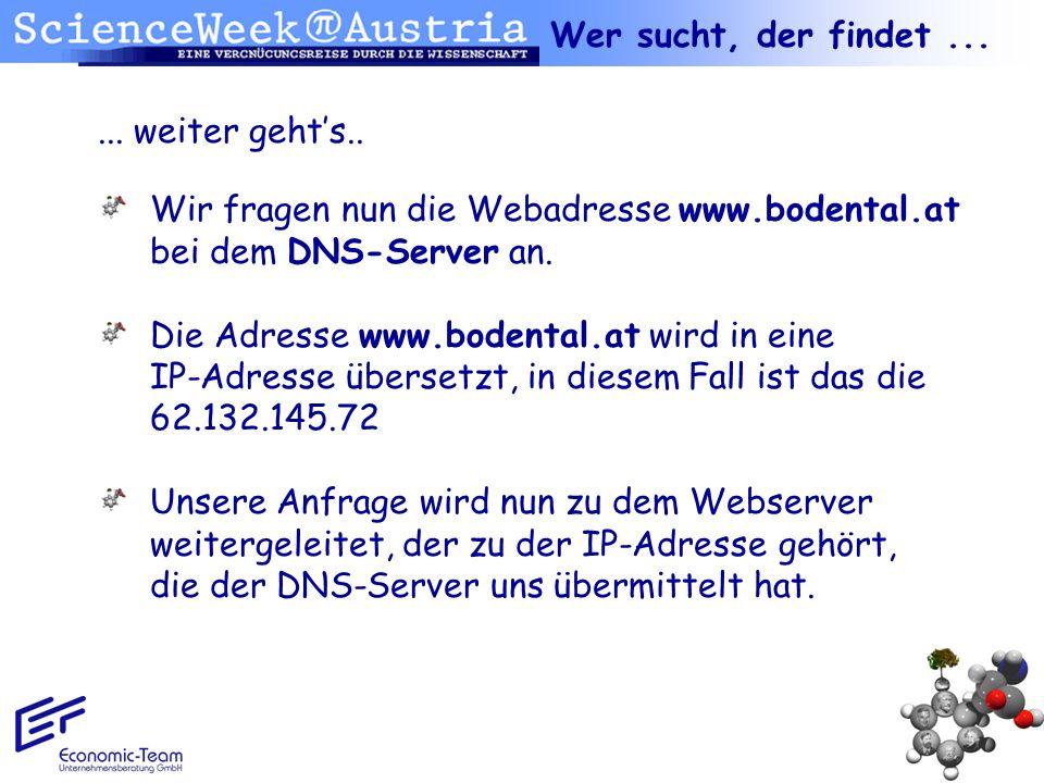 ... weiter gehts.. Wir fragen nun die Webadresse www.bodental.at bei dem DNS-Server an. Die Adresse www.bodental.at wird in eine IP-Adresse übersetzt,