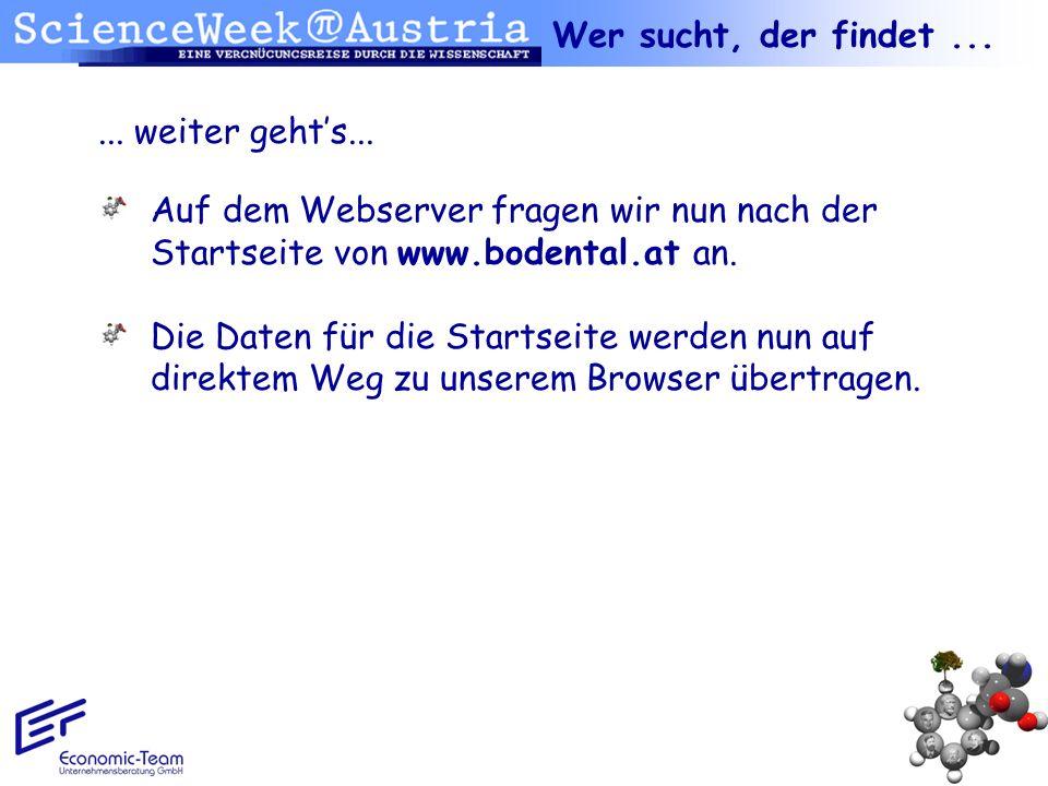 ... weiter gehts... Auf dem Webserver fragen wir nun nach der Startseite von www.bodental.at an. Die Daten für die Startseite werden nun auf direktem
