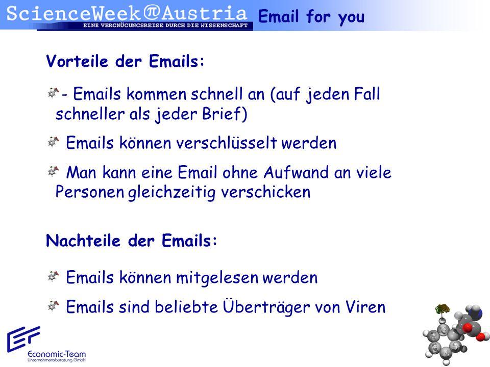 - Emails kommen schnell an (auf jeden Fall schneller als jeder Brief) Emails können verschlüsselt werden Man kann eine Email ohne Aufwand an viele Per