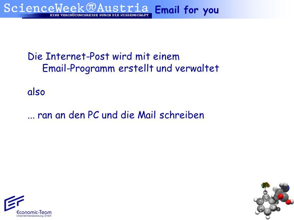 Die Internet-Post wird mit einem Email-Programm erstellt und verwaltet also... ran an den PC und die Mail schreiben
