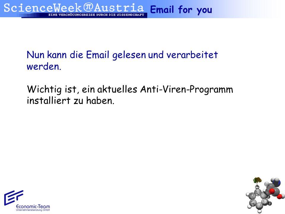 Nun kann die Email gelesen und verarbeitet werden. Wichtig ist, ein aktuelles Anti-Viren-Programm installiert zu haben. Email for you