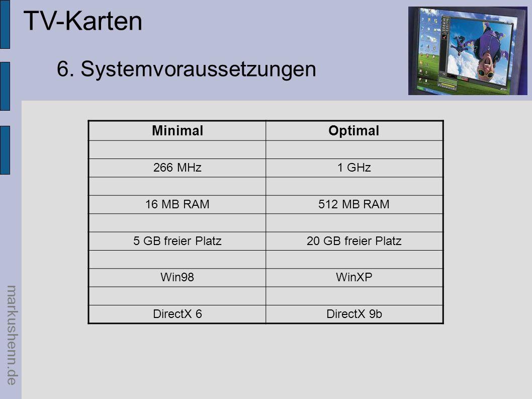 markushenn.de TV-Karten 6. Systemvoraussetzungen MinimalOptimal 266 MHz1 GHz 16 MB RAM512 MB RAM 5 GB freier Platz20 GB freier Platz Win98WinXP Direct