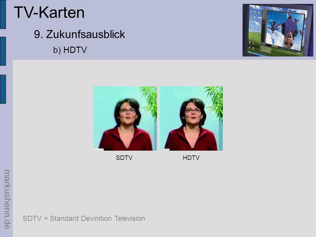 TV-Karten markushenn.de 9. Zukunfsausblick b) HDTV SDTVHDTV SDTV = Standard Devinition Television
