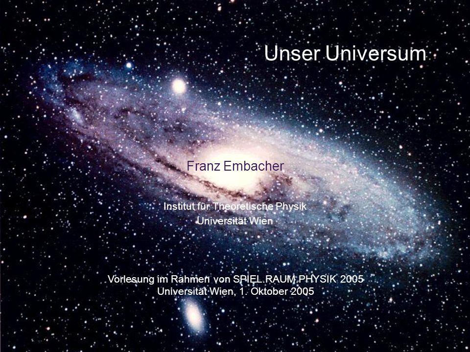 Unser Universum Franz Embacher Vorlesung im Rahmen von SPIEL.RAUM.PHYSIK 2005 Universität Wien, 1. Oktober 2005 Institut für Theoretische Physik Unive