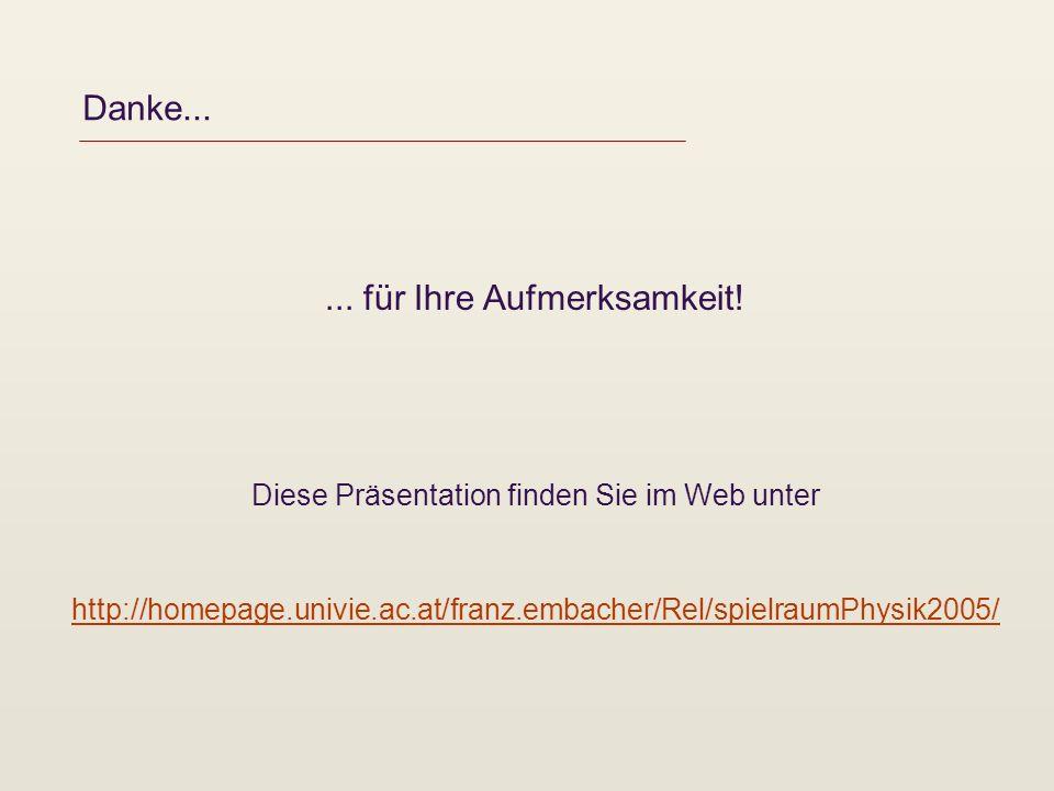 Danke...... für Ihre Aufmerksamkeit! Diese Präsentation finden Sie im Web unter http://homepage.univie.ac.at/franz.embacher/Rel/spielraumPhysik2005/