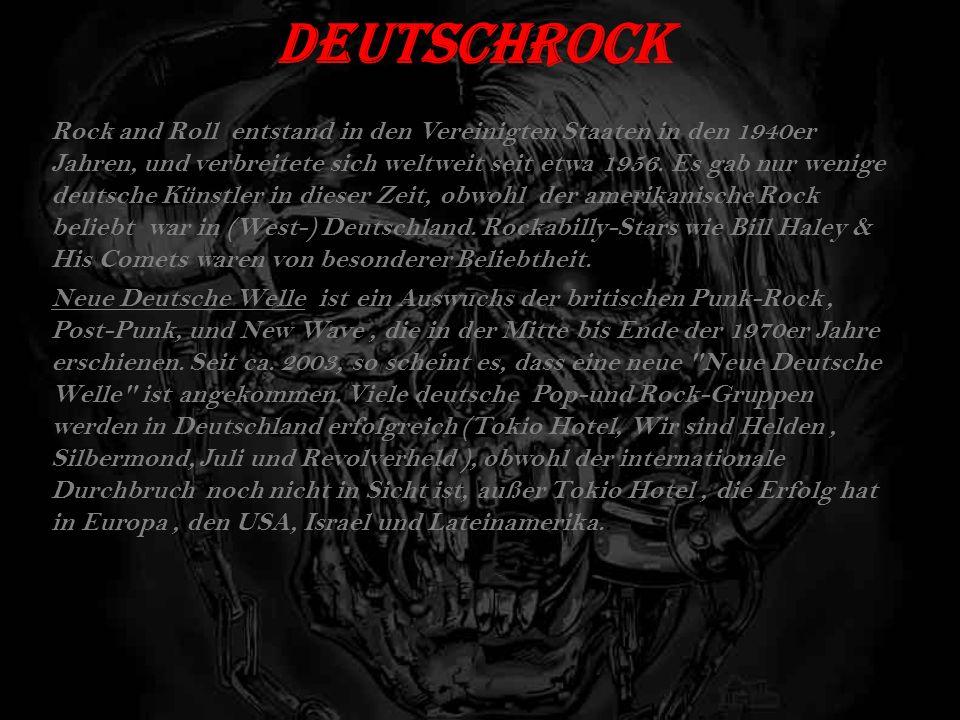 DeutschRock Rock and Roll entstand in den Vereinigten Staaten in den 1940er Jahren, und verbreitete sich weltweit seit etwa 1956.