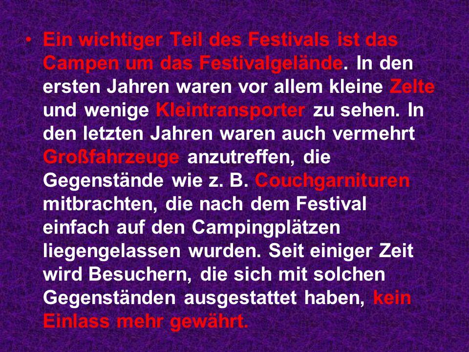 Ein wichtiger Teil des Festivals ist das Campen um das Festivalgelände.