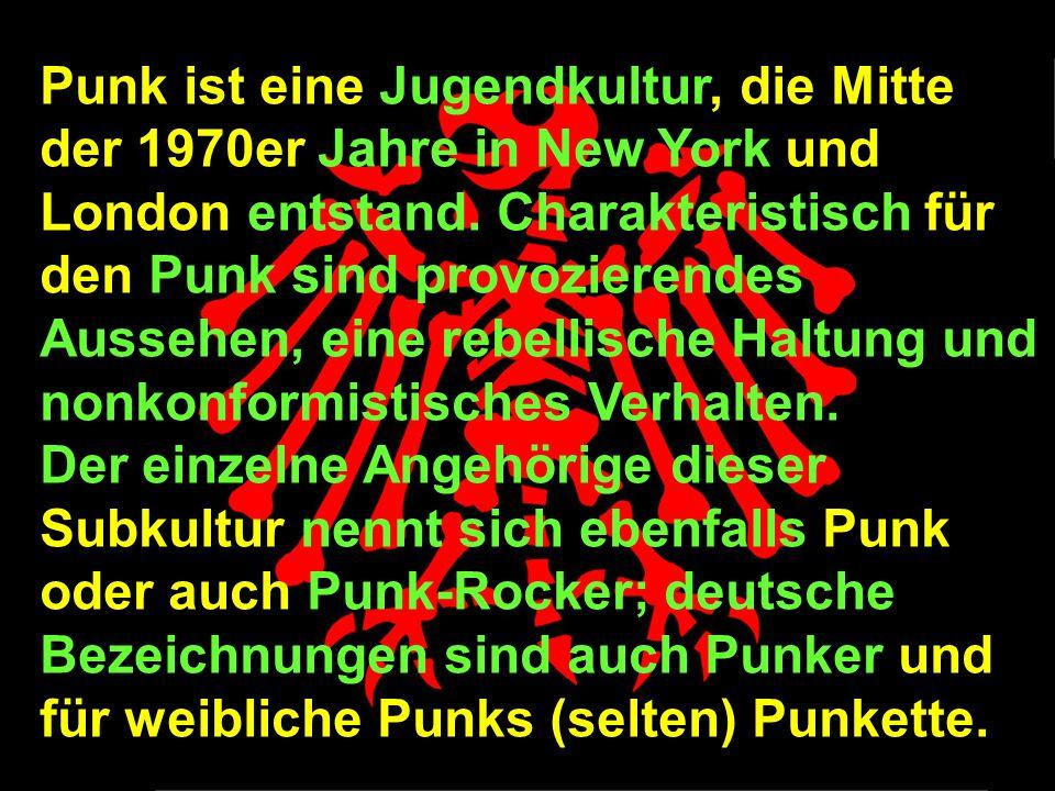 Punk ist eine Jugendkultur, die Mitte der 1970er Jahre in New York und London entstand.