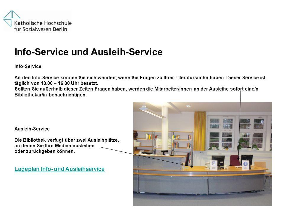 Info-Service und Ausleih-Service Info-Service An den Info-Service können Sie sich wenden, wenn Sie Fragen zu Ihrer Literatursuche haben. Dieser Servic