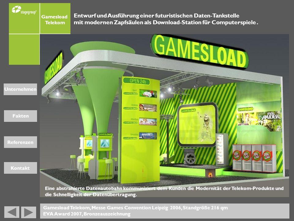 Fakten Unternehmen Referenzen Kontakt Gamesload Telekom Gamesload Telekom, Messe Games Convention Leipzig 2006, Standgröße 216 qm EVA Award 2007, Bron