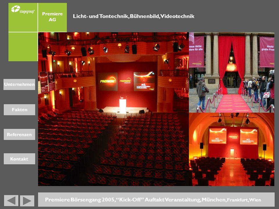 Fakten Unternehmen Referenzen Kontakt Premiere AG Premiere Börsengang 2005, Kick-Off Auftakt Veranstaltung, München, Frankfurt, Wien Licht- und Tontec