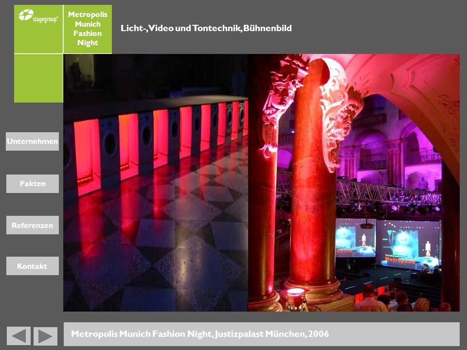 Fakten Unternehmen Referenzen Kontakt Metropolis Munich Fashion Night Metropolis Munich Fashion Night, Justizpalast München, 2006 Licht-, Video und To