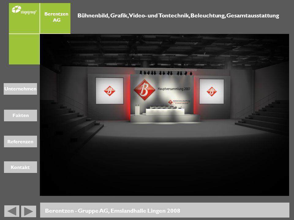 Fakten Unternehmen Referenzen Kontakt Berentzen - Gruppe AG, Emslandhalle Lingen 2008 Bühnenbild, Grafik, Video- und Tontechnik, Beleuchtung, Gesamtau