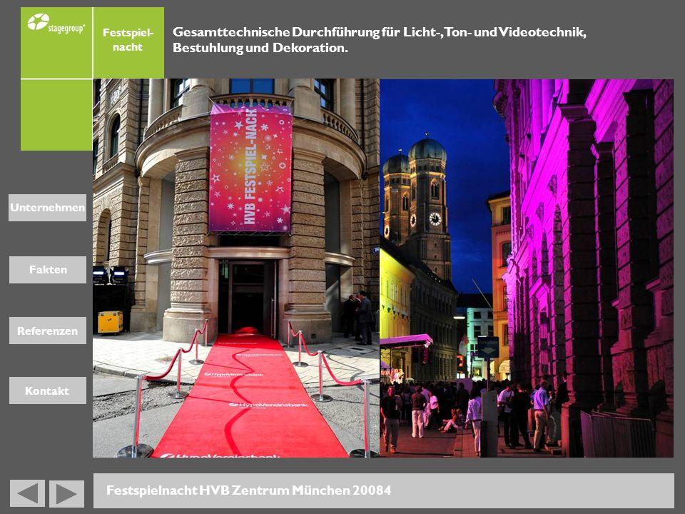 Fakten Unternehmen Referenzen Kontakt Festspiel- nacht Gesamttechnische Durchführung für Licht-, Ton- und Videotechnik, Bestuhlung und Dekoration. Fes